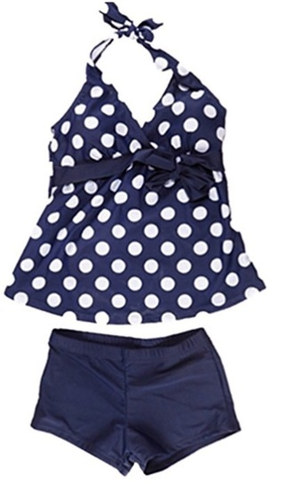 swimwear tankini navy polka dots cute small pretty bow navy blue tankini swimsuit bikini pants