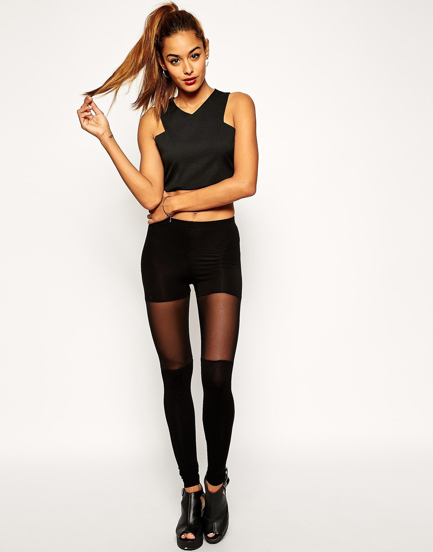 8edb462af5b9ee ASOS Leggings with over the Knee Mesh Detail at asos.com
