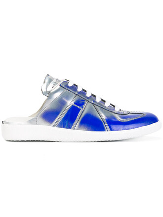 women sneakers lace leather blue shoes