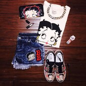 top,bettyboop,style,cute,betty style,shoes,shirt,gothave,betty boo,fashion,betty boop,gottohave,shorts,bag,t-shirt
