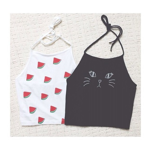 cats halter watermelon print halter top crop tops