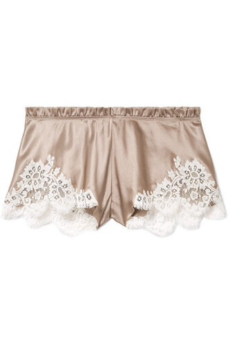 shorts lace silk satin beige