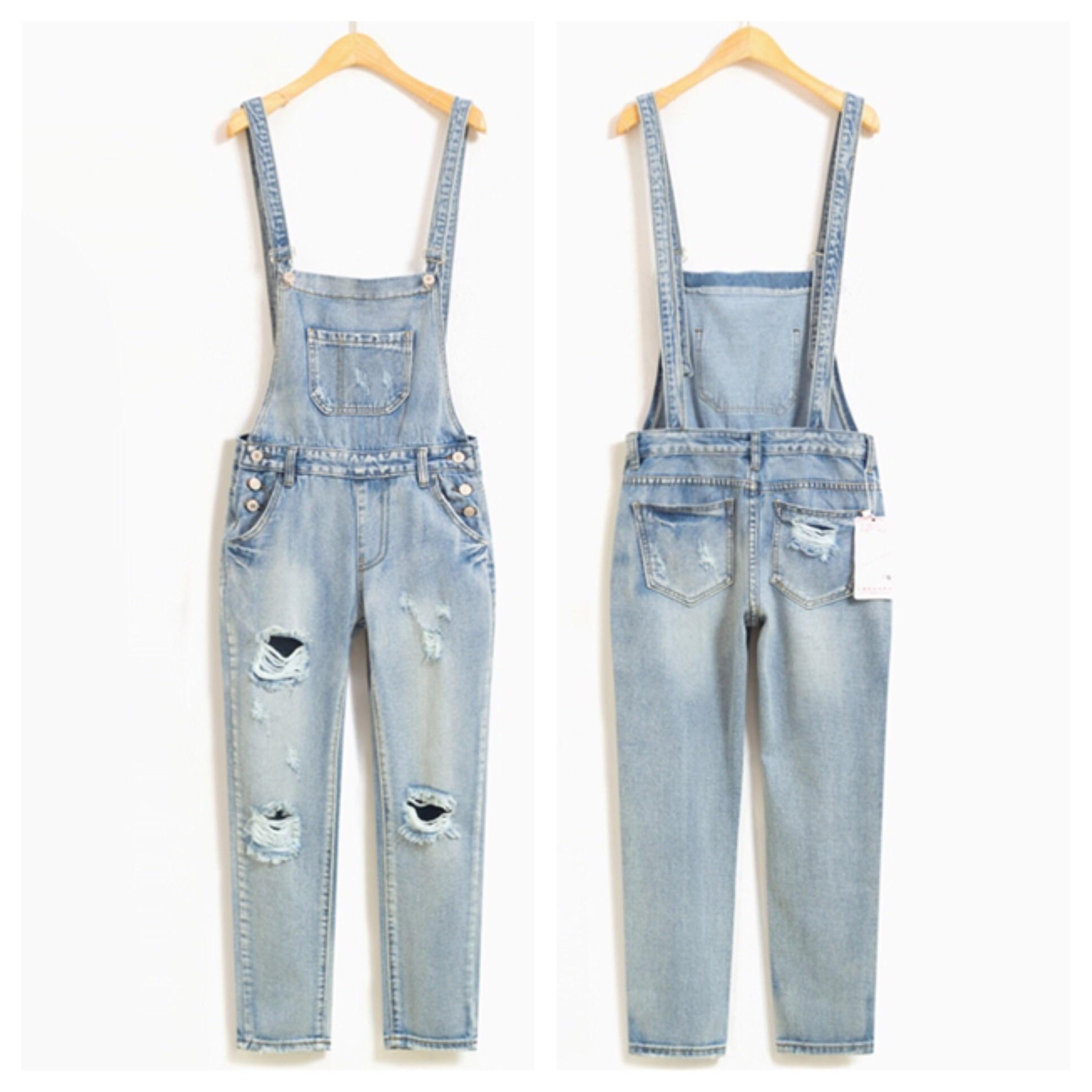 Light blue acid denim ripped overalls