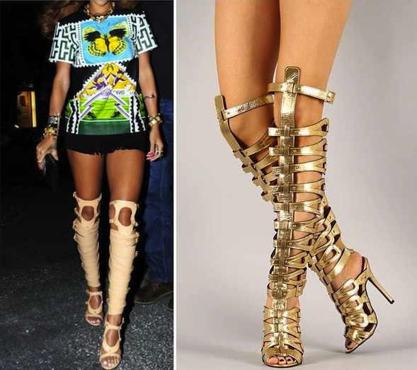 Strappy gladiator stilettos – gold : glamorous and fabulous