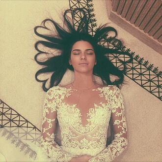dress top lace instagram kendall jenner lace wedding dress jewels