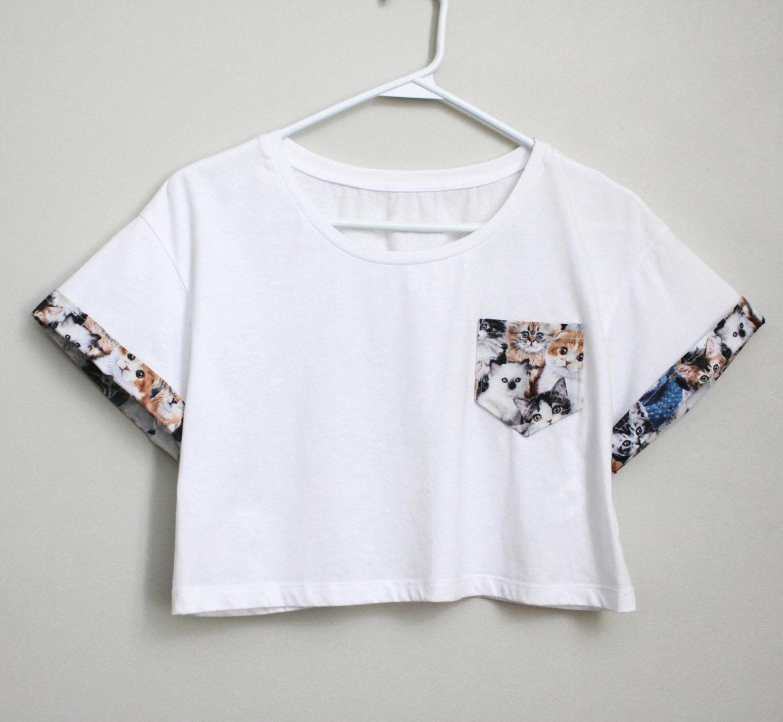 poche de chat et manches t shirt blanc crop top. Black Bedroom Furniture Sets. Home Design Ideas