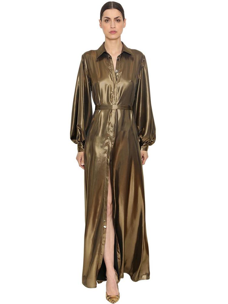 INGIE PARIS Fluid Lamé Long Shirt Dress in gold
