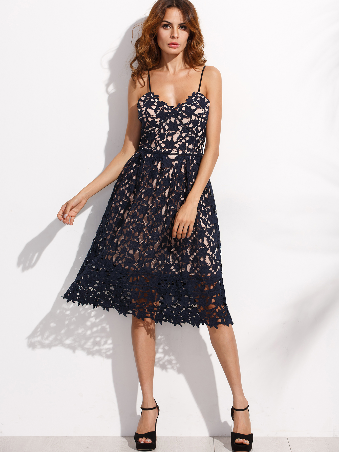 0c0a4df0fe Navy Embroidered Lace Overlay Cami Dress -SheIn(Sheinside)