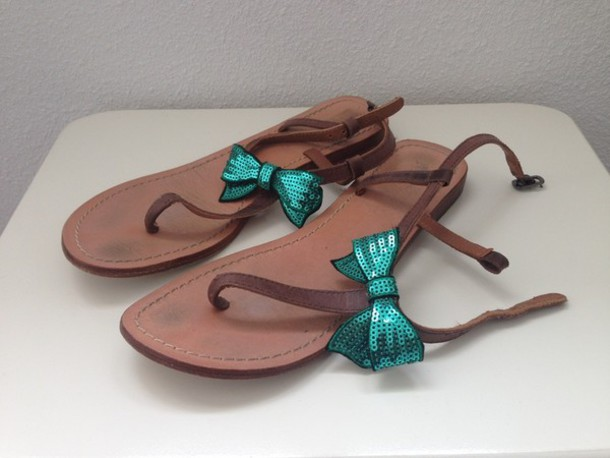shoes cute bow tie blue mint sparkle girly sandals
