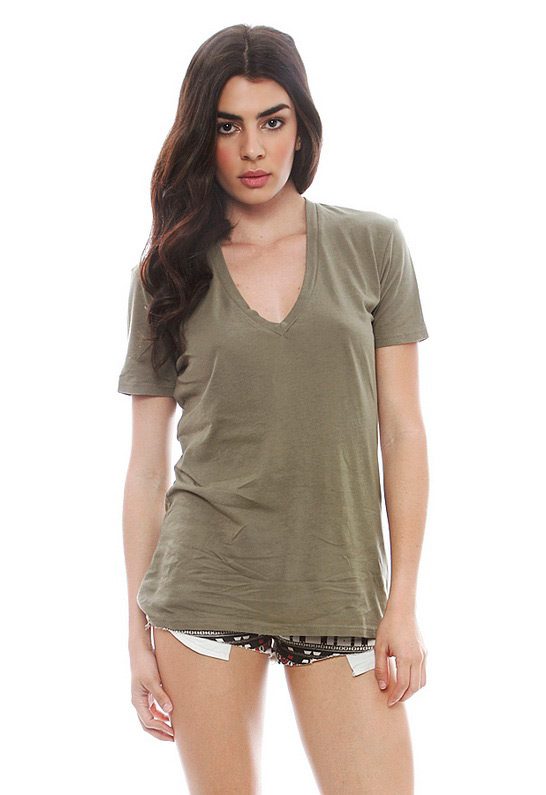 Monrow Oversized V Neck Tee in Army | SINGER22.com