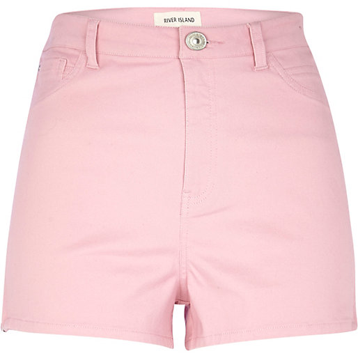 pink high waisted stretch shorts - denim shorts - shorts - women