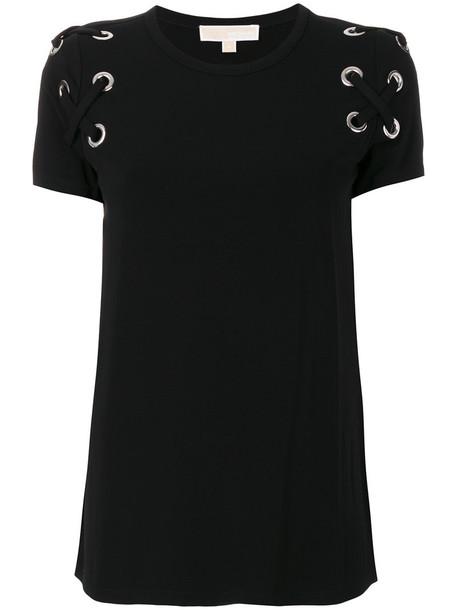 Michael Michael Kors - lace-up T-shirt - women - Spandex/Elastane/Viscose - XS, Black, Spandex/Elastane/Viscose