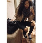 jeans,vans,shoes,sneakers,bag,black bag,purse,jacket,scarf,top,style,swag,dope,trill,black jeans,black ripped jeans,black vans,t-shirt,shirt,curly hair,black girls killin it,brown jacket,outfit,outfit idea,fall outfits,fall scarves,winter scarf,trendy,lipstick,chicwish,cute outfits,grunge,skater,black pants,pants,illest,ashkardashbatch,leather jacket,beige jacket,ripped jeans,ripped knee jeans