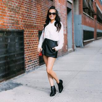 skirt tumblr mini mini skirt leather skirt black leather skirt boots black boots ankle boots shirt white shirt sunglasses