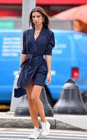 jacket,streetstyle,fashion week,emily ratajkowski,sneakers,stripes,blazer,blazer dress