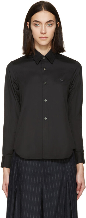 blouse heart black top