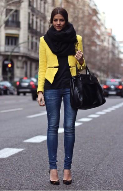 jacket yellow stylish scarf