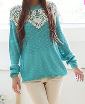 sweater,turquoise,long sleeves,casual,fall outfits,trendy,embroidered,trendsgal.com