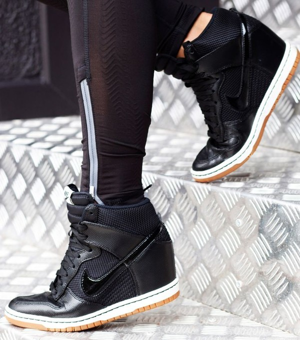 nike nike dunk sky high mesh black wedge trainers at asos