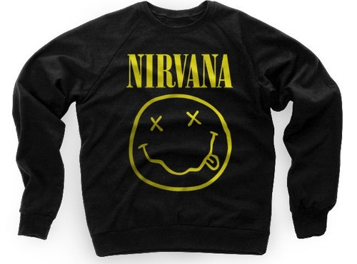 Nirvana Smiley Face Logo Crewneck Sweater Kurt Cobain Dave Grohl | eBay
