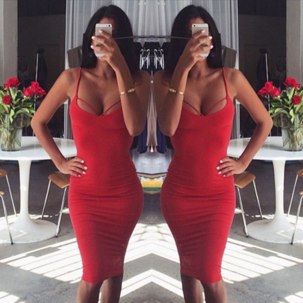 dress red dress sexy body cute girl style fashion sexy dress sexy party dresses spaghetti strap spagetti straps red bodycon dress bodycon sleeveless sleeveless dress sleebeless sleebell sleeves summer cute dress trendsgal
