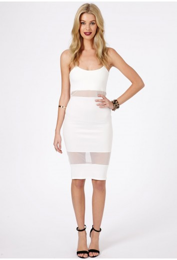 Missguided - Shilin Cream Mesh Panel Strappy Midi Dress