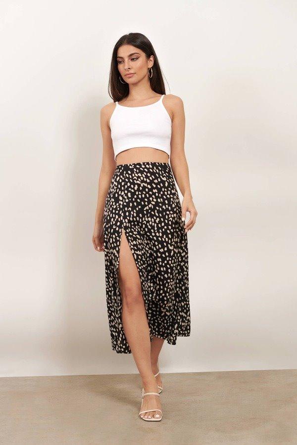Better Now Black Multi Spot Print Slit Midi Skirt