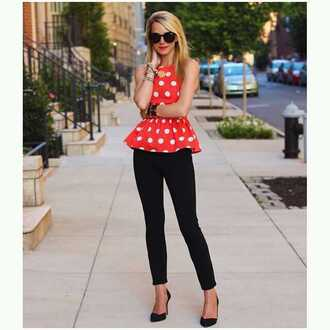 blouse bright orange polka dots
