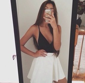 dress,shirt,skirt,t-shirt,top,selfie,hipster,lovely,style,stylish,fall outfits,white dress,black dress,fall dress,singlet,low cut,instagram,blouse,white skater skirt,black top,tumblr outfit,white skirt,a-line skirt,plunge v neck,on point,on point clothing,black and white,short skater skirt bottom,white,skater skirt,cool,cute skirt,black,sexy,classy,girl,outfit,pale,tank top,white top,crop tops,white crop tops