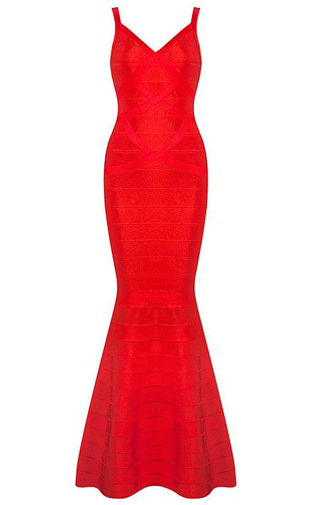 Mermaid Evening Bandage Dress Red