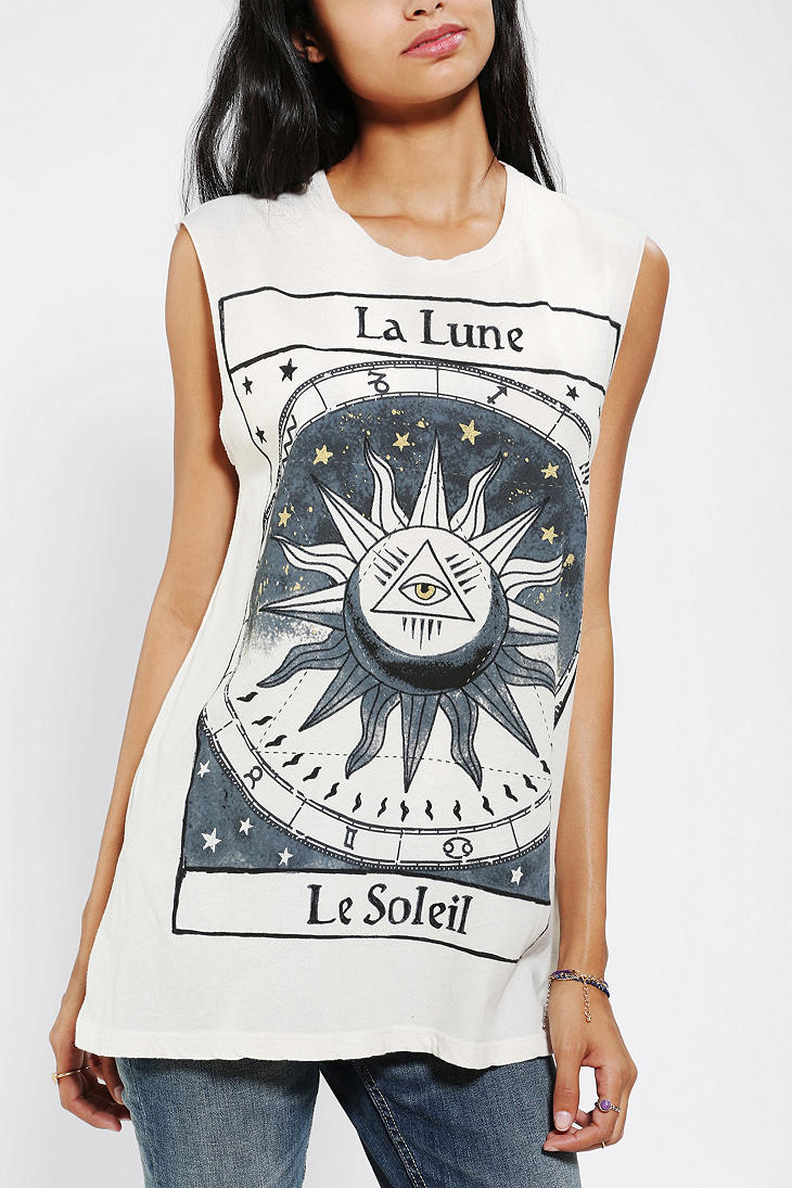 Title Unknown La Lune Foiled Muscle Tee - Urban Outfitters