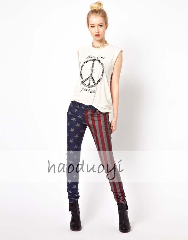American Flag Legging Plus Size Denim Pants for Women Stars and Stripes Slim Elastic Punk Trousers 2013 Onsale-inJeans from Apparel & Accessories on Aliexpress.com