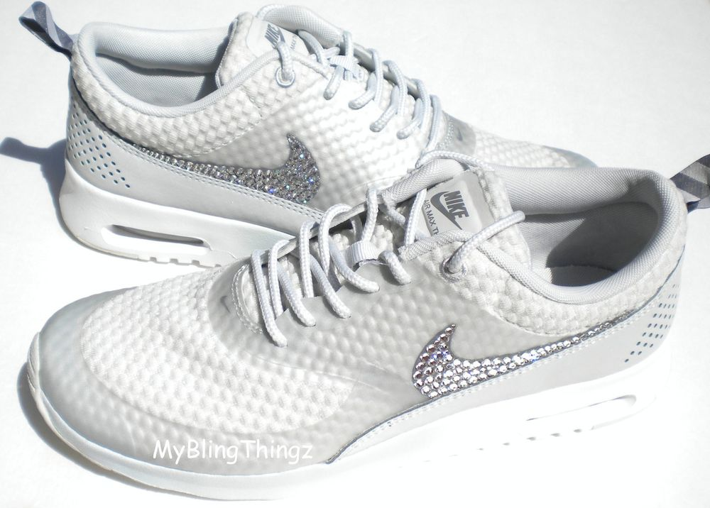 a3a10b00b9 ... coupon for nike air max thea premium light grey white w swarovski  crystal elements bling 99a74