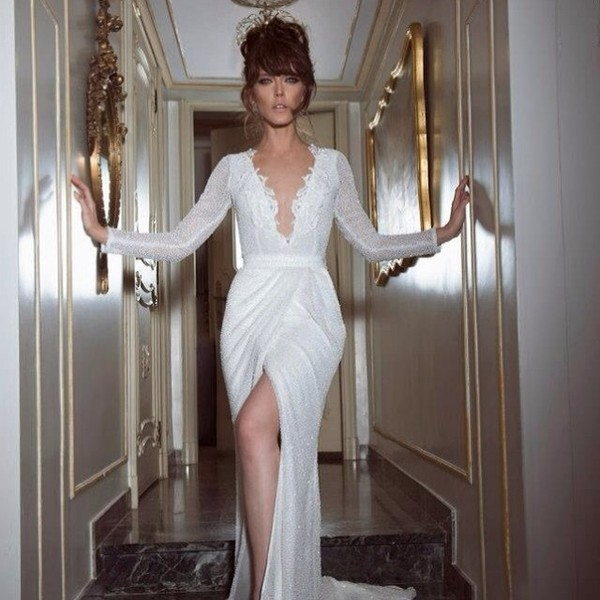 dress white prom evening outfits long long prom dress long white wedding dress bridal dress v-front slit dress slit dress white prom dress white dress white dress elegant dress ball gown dress dress wedding dress side split v neck dress