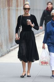 skirt,all black everything,midi skirt,black,top,flats,candice swanepoel,model off-duty,spring outfits,streetstyle