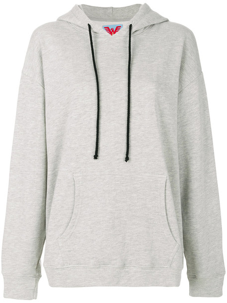 hoodie oversized embroidered women cotton grey sweater