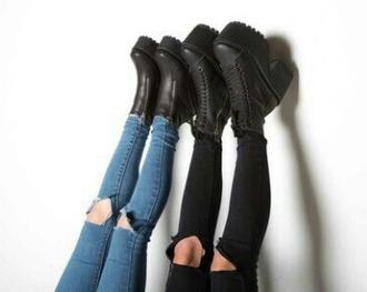 jeans black blue destroyed skinny jeans ripped knee jeans hipster grunge vintage shoes