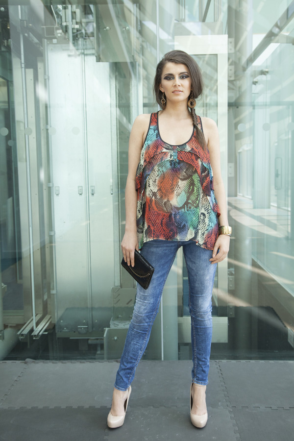 blouse clothes print jeans yan neo snake print clutch heels chiffon top vest casual chic designer celebrity style