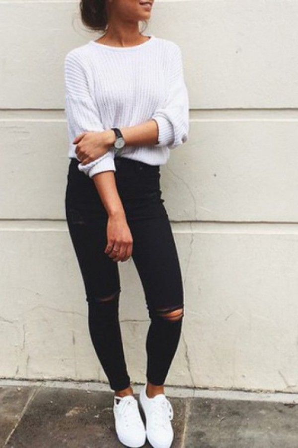 jeans stylish trendy urban fashion lookbook zaful blouse shoes white sweater ripped jeans black summer tumblr skinny jeans black jeans white sweater pants ripped knitwear pearlish white