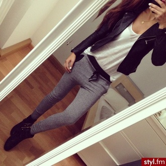 pants sweats joggers sweatpants white top leather jacket outfit idea fashion inspo tumblr tumblr outfit tumblr jacket tumblr girl style stylish trendy blogger fashionista chill rad casual on point clothing cute