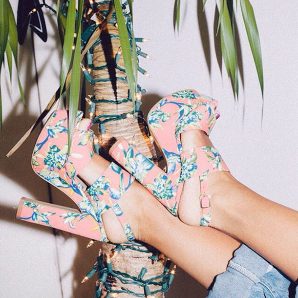 floral high heels floral shoes
