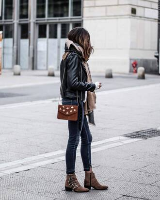 jacket tumblr black jacket black leather jacket leather jacket denim jeans blue jeans bag brown bag suede suede bag embellished embellished bag chain bag boots brown boots ankle boots flat boots buckle boots chelsea boots scarf fall outfits