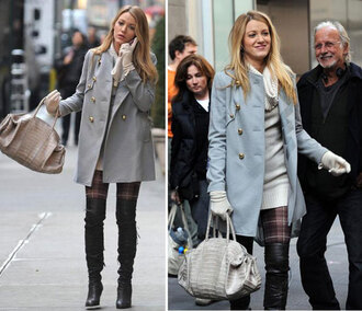 coat light blue coat grey coat gossip girl serena van der woodsen blake lively fall outfits pants pastel pastel blue pastel coat plaid winter outfits infinity scarf streetstyle leather bag