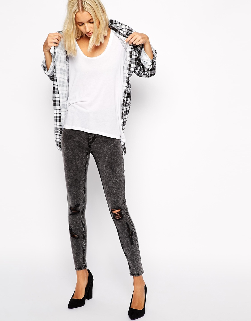 Cheap monday spray on super skinny jeans with distressing at asos.com