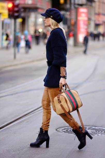 hippie hippie milkshake blogger rust travel bag knitted sweater fisherman cap