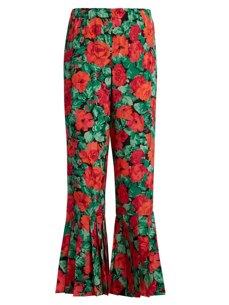 gucci pleated floral print silk red pants