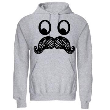 Mustache Face Hoodie: Custom Unisex Gildan Heavy Blend Hoodie - Customized Girl