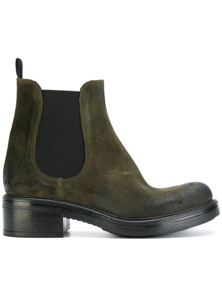 STRATEGIA women classic chelsea boots leather suede green shoes