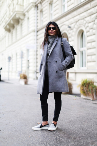 fashion landscape blogger sweater jewels coat jeans sunglasses shoes loafers cute shoes