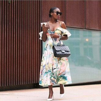 dress tumblr midi dress floral floral dress off the shoulder off the shoulder dress bag black bag pumps pointed toe pumps high heel pumps sunglasses shoes